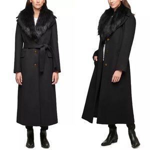 Calvin Klein Black Faux Fur Collar Long Dress Coat